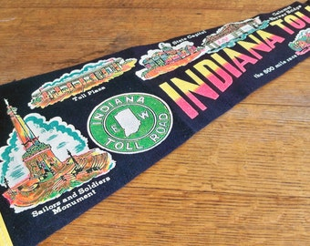 Large Indiana Toll Road Souvenir Pennant - Kitschy Cool Road Trip Fun