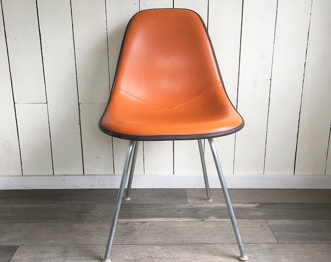 """Featured listing image: 1970s Herman Miller Eames Chair - Mod Orange Upholstered Fiberglass """"Mid Century Modern Classic"""""""