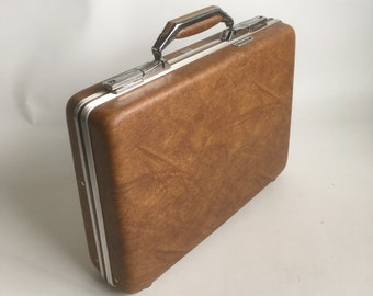 "Vintage Brown Briefcase, Attaché Case ""Modern and Sophisticated"""