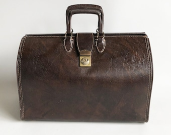 Mid Century Faux Leather Business Satchel, Travel Bag - Doctor's Style Bag, Briefcase
