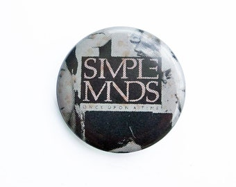 """Simple Minds 1980s Pin-Back Button - Rock & Roll Memorabilia, New Wave Rock, Concert Button """"FREE USA SHIPPING"""""""