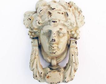 Vintage Cast Iron Door Knocker - Greek or Roman Goddess - Shabby, Distressed Patina