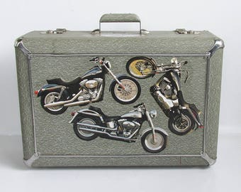"Mid Century Masterbilt Sky-Rocket Suitcase with Harley-Davidson Adornment ""A Unique Find"""