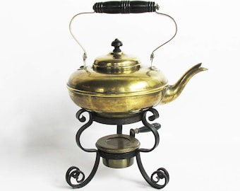Early 20th Century Manning Bowman & Co. Brass Kettle with Stand and Alcohol Burner-Warmer