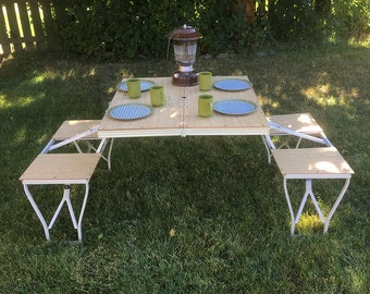 "Vintage Folding Camping Table, Folding Picnic Table  ""Table Great for Vintage Camping or Extra Holiday Seating"" Free Lower 48 USA Shipping"