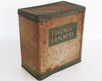 1920s-30s Edgemont Cracker Tin - Metal Litho Tin - Kitchen Decor