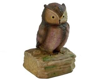 Vintage Gorham Ceramic Owl Figurine, Music Box, Musical Owl, Owl Knick Knack