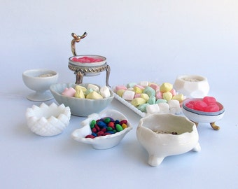 """A Lot of  9 Vintage & Antique Glass Salt Cellars - Small Milk Glass Bowls """"An Instant Collection"""""""