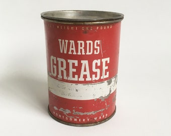 Vintage Wards Grease Can, Auto & Truck Lubricant, Montgomery Wards, Petroliana Collectible