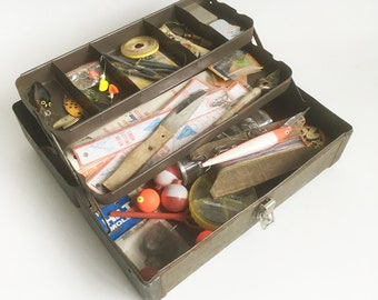 Mid Century Steel Tackle Box full of Vintage Tackle - Lures, Flies, Hooks, Weights & More