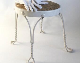 Shabby White Mid Century Wrought Iron Vanity Stool - Chair