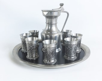 """Vintage Zinn-Stube Pewter Serving Set with Pitcher, 8 Cups and Serving Tray """"Swiss Made Craftsmanship"""""""