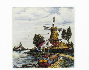 "Vintage Defts Ceramic Tile - Trivet ""Rural Dutch Windmill Scene"""