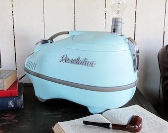 "1950s Revelation Vacuum Cleaner Upcycled Lamp ""Space Age Rocket & Chrome Splendor"""