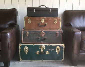 Set of 4 Vintage Trunks and Suitcases - Instant Stacked Luggage Collection - FREE USA SHIPPING