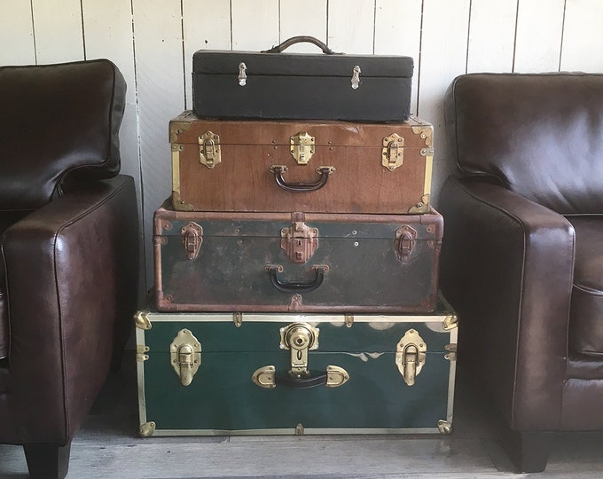 Featured listing image: Set of 4 Vintage Trunks and Suitcases - Instant Stacked Luggage Collection - FREE USA SHIPPING