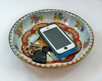 Vintage Daher Decorated Ware Metal Litho Bowl, Nightstand Tray, Key & Coin Tray - Floral Pattern