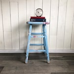"""Farmhouse Chic Wooden Tall Stool, Shop Stool, Bar Stool, Side Table, Plant Stand """"Shabby Blue Distressed Patina"""""""