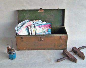 """Mid-Century Union Metal Toolbox """"Nicely Distressed with lots of Industrial Chic Charm"""""""