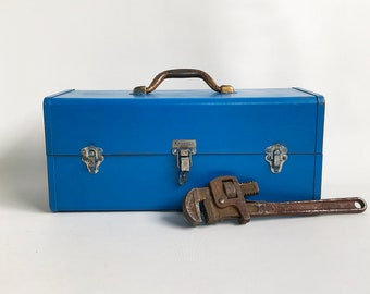 Old Blue Kennedy Kits T-18 Toolbox, Tackle Box, Utility Box with Cantilever Trays