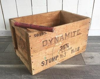 Vintage Wooden Dynamite Crate, Explosives Crate, Wooden Box, Gold Medal Explosives Shipping Crate - Illinois Powder Mfg. Co.