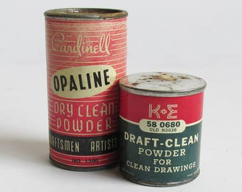 Bundle of Two Mid Century Dry Clean Powder Cans, Drafting Powder, Eraser Powder - Vintage Drafting & Artist Collectibles