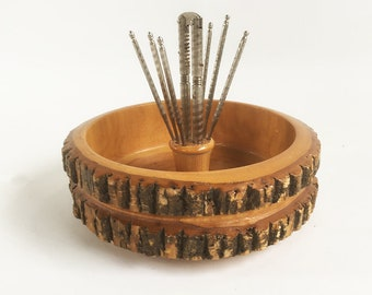 Kitschy Mid Century Ellwood Rusticware Nut Bowl with Tools, Tree Slice with Bark