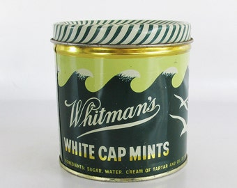 1950s Whitman's White Cap Mints Tin - Candy Tin