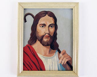 "Mid Century Jesus Paint-by-Number Painting - Framed with Aged Vintage Patina ""FREE USA SHIPPING"""