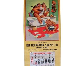 "1950 Monkey Cartoon Wall Calendar by Lawson Wood ""Business As Usual"""