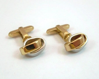 Vintage Cuff Links With Gold & Silver Interwoven Rings