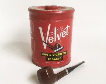 1950s Velvet Tobacco Tin, Liggett & Meyers Tobacciana