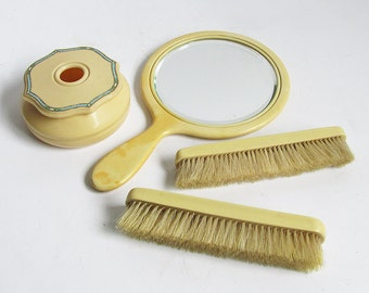 1920s - 1930s Celluloid - Ivory Pyralin Vanity Set - Mirror , Hair Receiver , Brushes