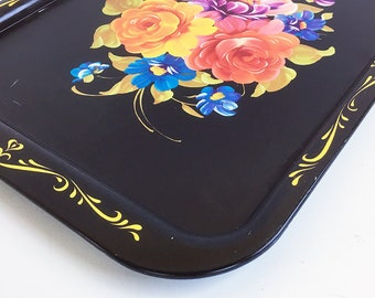 Mid Century Decorative Metal Serving Tray - Black with Bouquet of Flowers