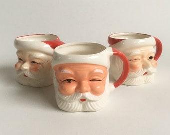 "Set of 3 Mid Century Hand-Painted Ceramic Santa Claus Mugs, Vintage Christmas Mugs ""FREE USA SHIPPING"""
