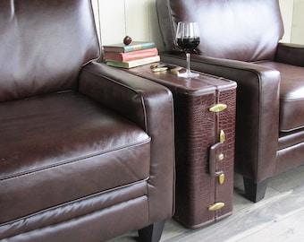 1950s Samsonite Faux Alligator Skin Wardrobe Suitcase - Trunk - Side Table
