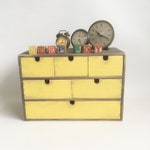 """Vintage Wood Chest with Drawers, Desk Orgainizer, Craft Cabinet """"Shabby Gray & Yellow"""""""