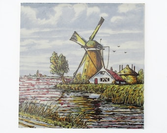 "Vintage Defts Ceramic Tile - Trivet ""Dutch Windmill Scene"""