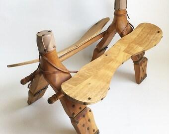Vintage Wood & Leather Camel Saddle, Saddle Frame, Camel Pack Frame, Boho Ottoman