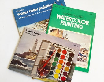 "Vintage ""How to Watercolor"" Paint Book Bundle - 3 Books  ""FREE USA SHIPPING"""