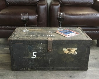 U.S. Army Air Corps or Air Force Officer's Trunk, Footlocker, War Trunk, U.S. Airman, Coffee Table Trunk with Stenciled Letters