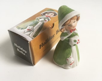 """1978 Jasco """"Holiday Belle"""" Christmas Ornament, Porcelain Bisque Christmas Bell """"Free USA Shipping"""""""