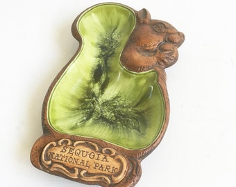 "Kitschy Vintage Treasure Craft Squirrel Ashtray with ""Sequoia National Park"" Souvenir- Fun Squirrel Tray - Bowl ""Free USA Shipping"""