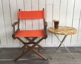 Vintage Wood & Orange Canvas Folding Director's Chair, Patio Chair, Lawn Chair