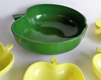 Mid Century Hazel Atlas Green Milk Glass Apple Shaped Serving Bowl- Salad Bowl, Fruit Bowl