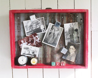 "Old Wooden Drawer Upcycled to Magnet Board - ""Fun Farmhouse Chic Piece"""
