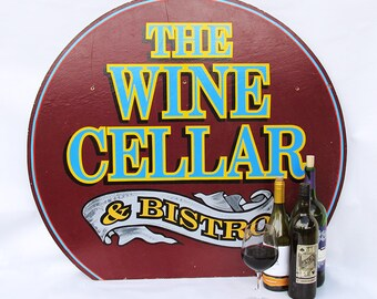 "Large Vintage Wooden Restaurant Sign ""Wine Cellar & Bistro"" - Vintage Advertising Sign"