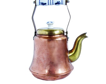 Vintage Copper & Brass Teapot with Porcelain Handles - Tall Kettle