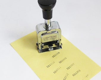Mid Century Lighting Auto Numbering Machine, Office Number Stamper, Sequential Numbering Machine