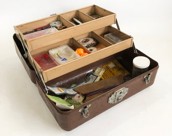 Mid Century JC HIggins Steel Tackle Box full of Vintage Tackle - Lures, Hooks, Weights & More